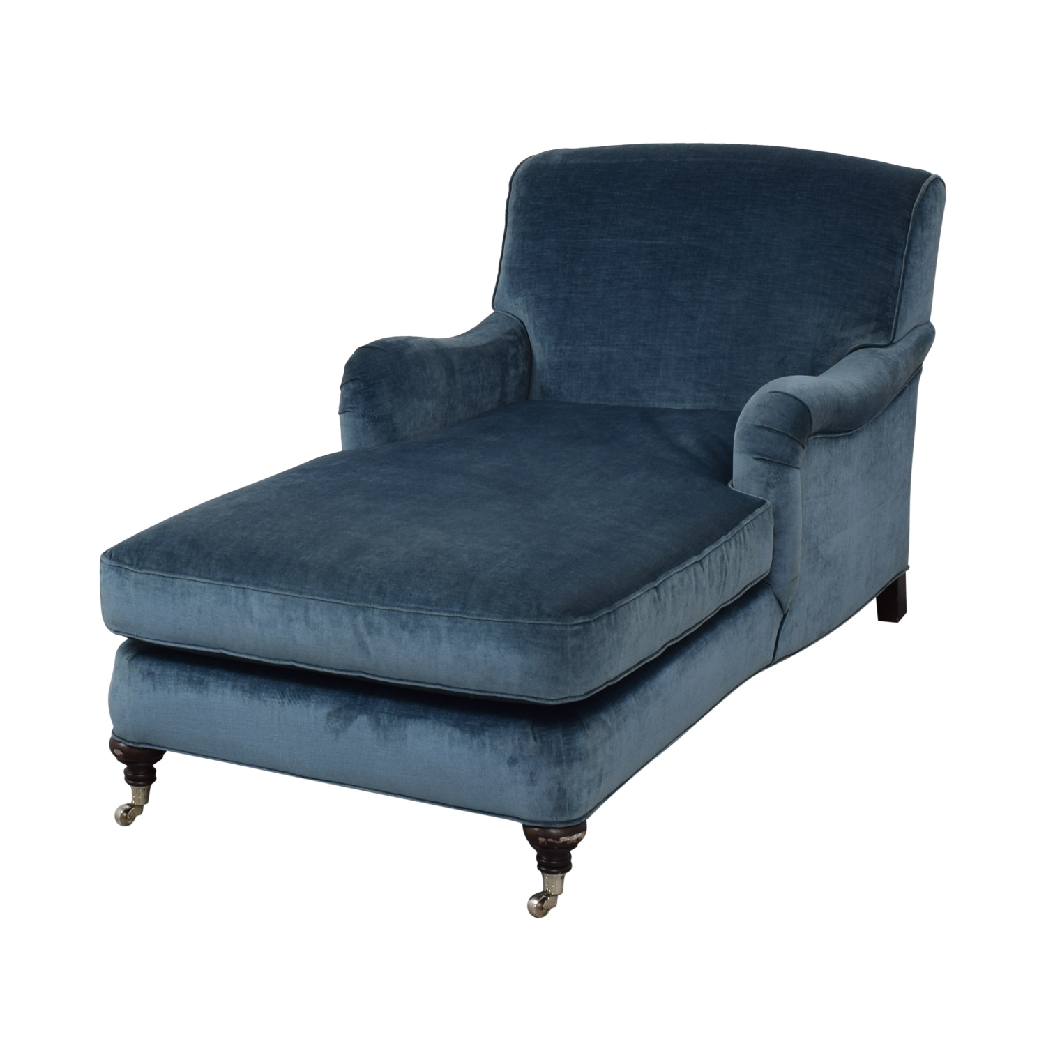 shop Mitchell Gold + Bob Williams Blue Velvet Chaise Lounge on Castors Mitchell Gold + Bob Williams