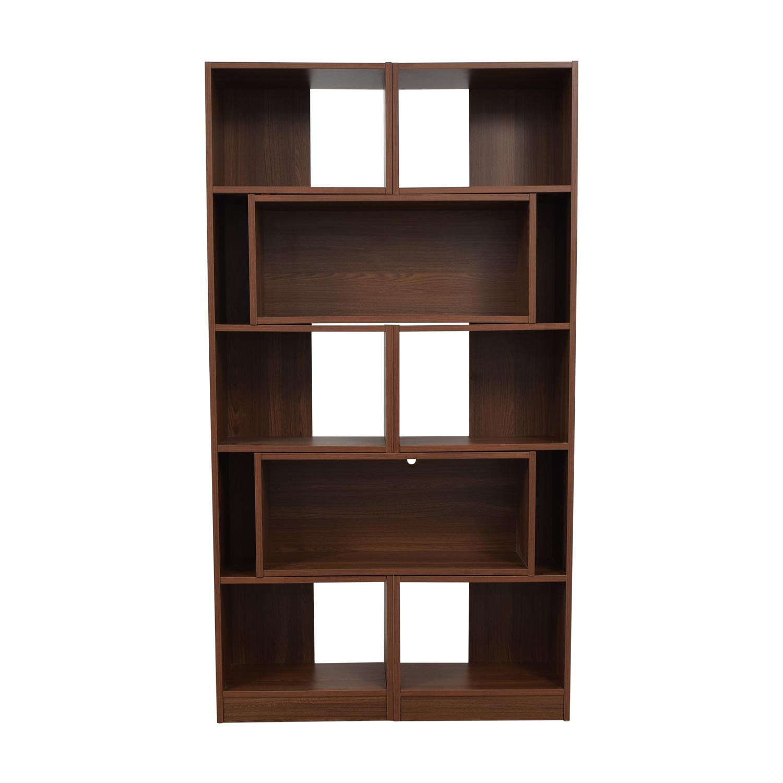 Crate & Barrel Crate & Barrel Puzzle Bookshelf BROWN