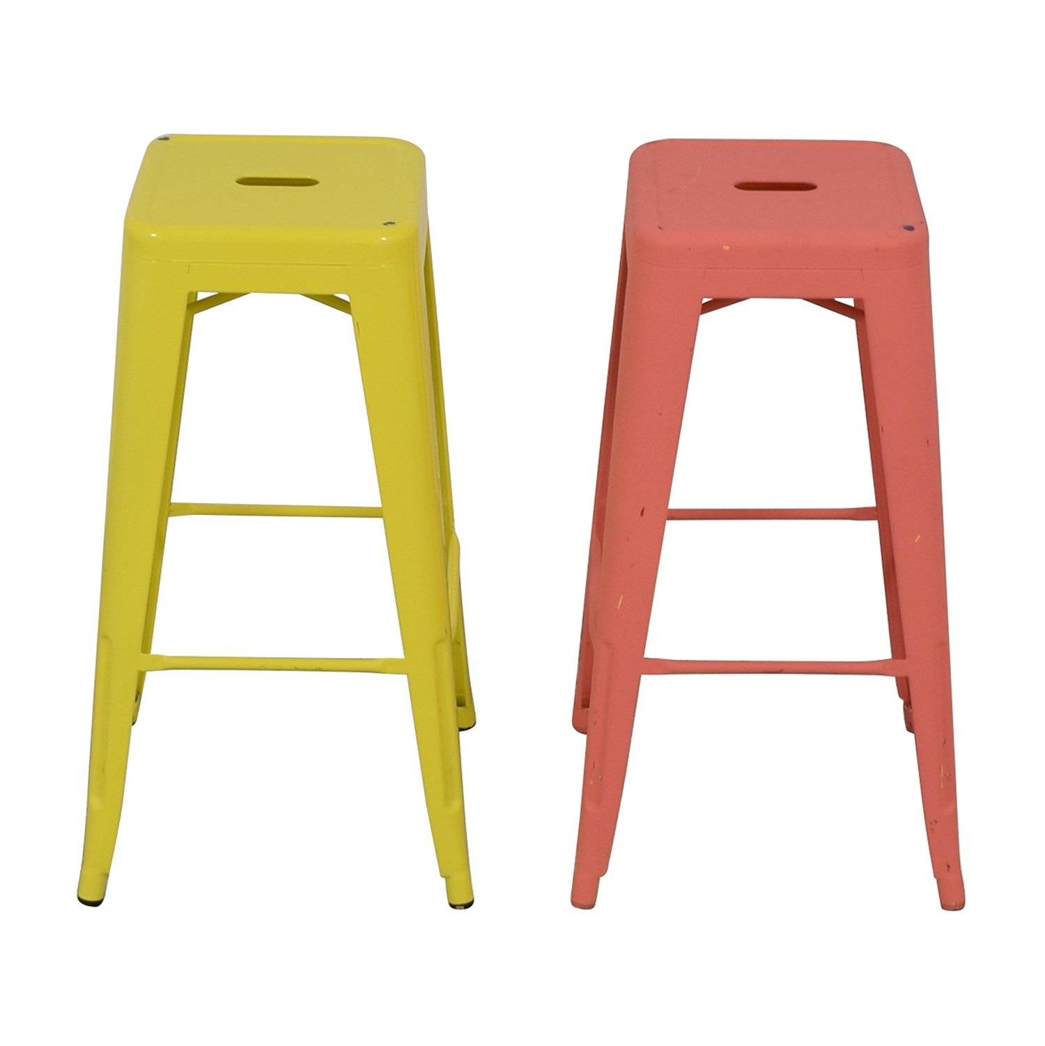 shop Overstock Pink and Yellow Metal Stackable Stools Overstock Chairs