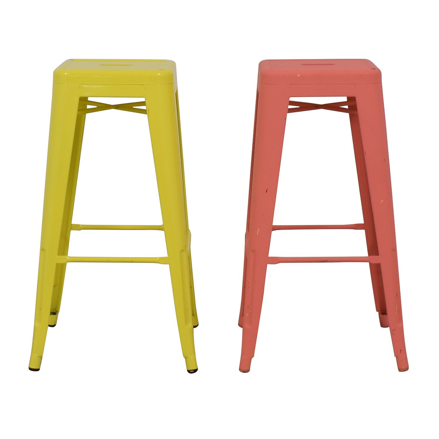 buy Overstock Pink and Yellow Metal Stackable Stools Overstock