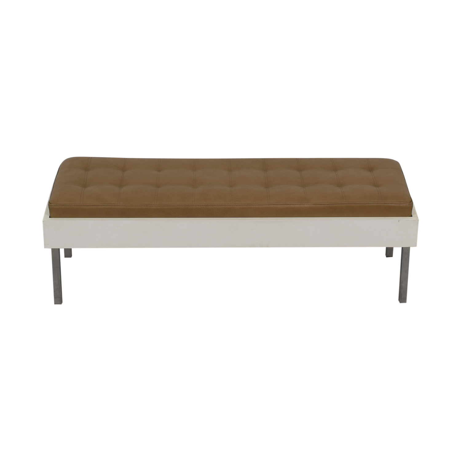 Furniture Masters Furniture Masters Wood and Leather Tufted Bench nyc