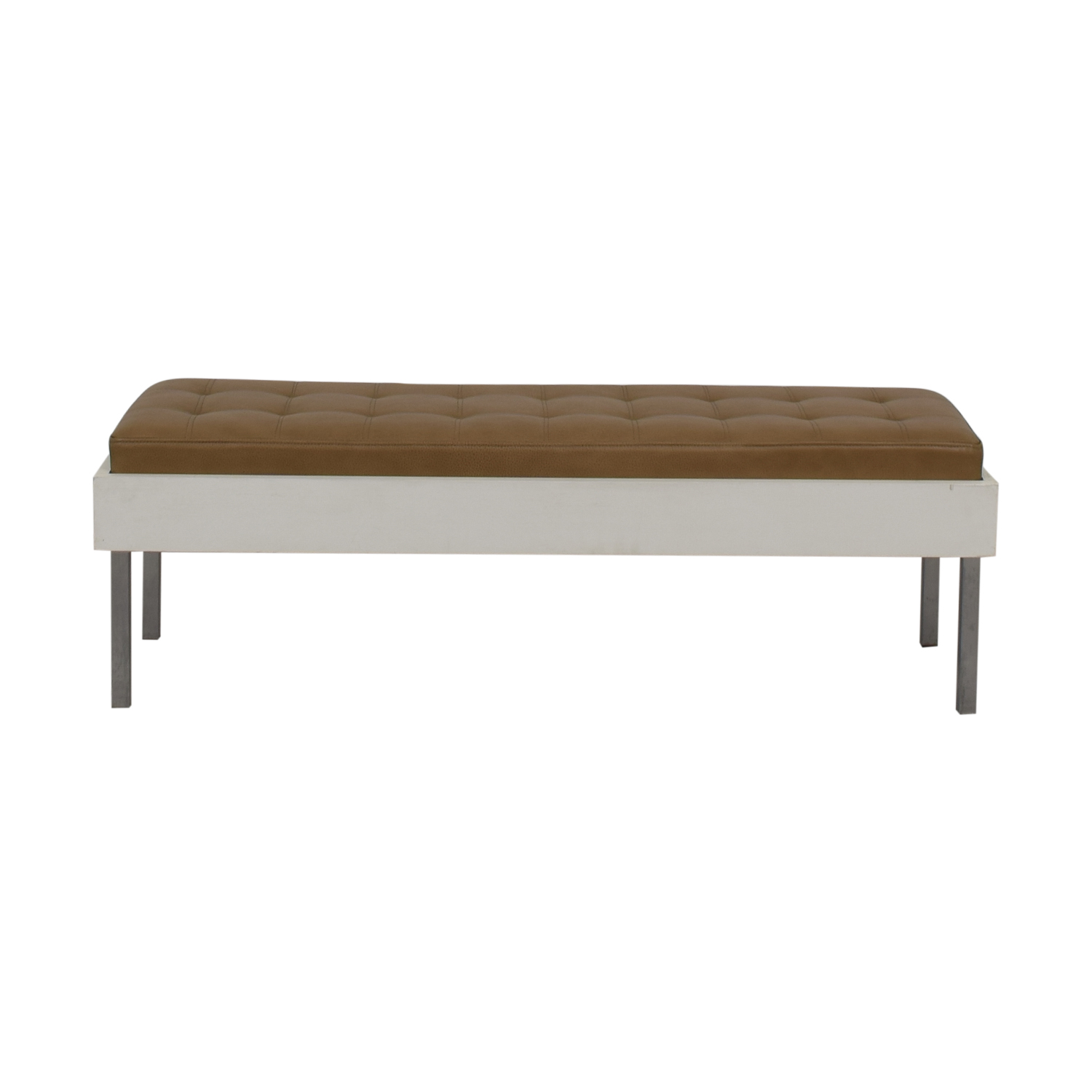 Furniture Masters Wood and Leather Tufted Bench sale