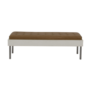 Furniture Masters Furniture Masters Wood and Leather Tufted Bench for sale