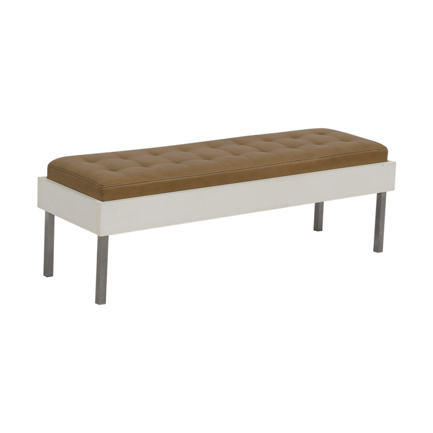 Furniture Masters Furniture Masters Wood and Leather Tufted Bench on sale