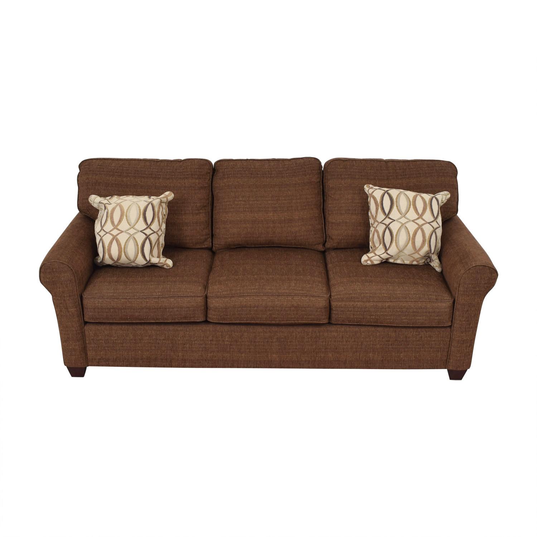 buy Bassett Bassett Brown Tweed Three-Cushion Sofa online