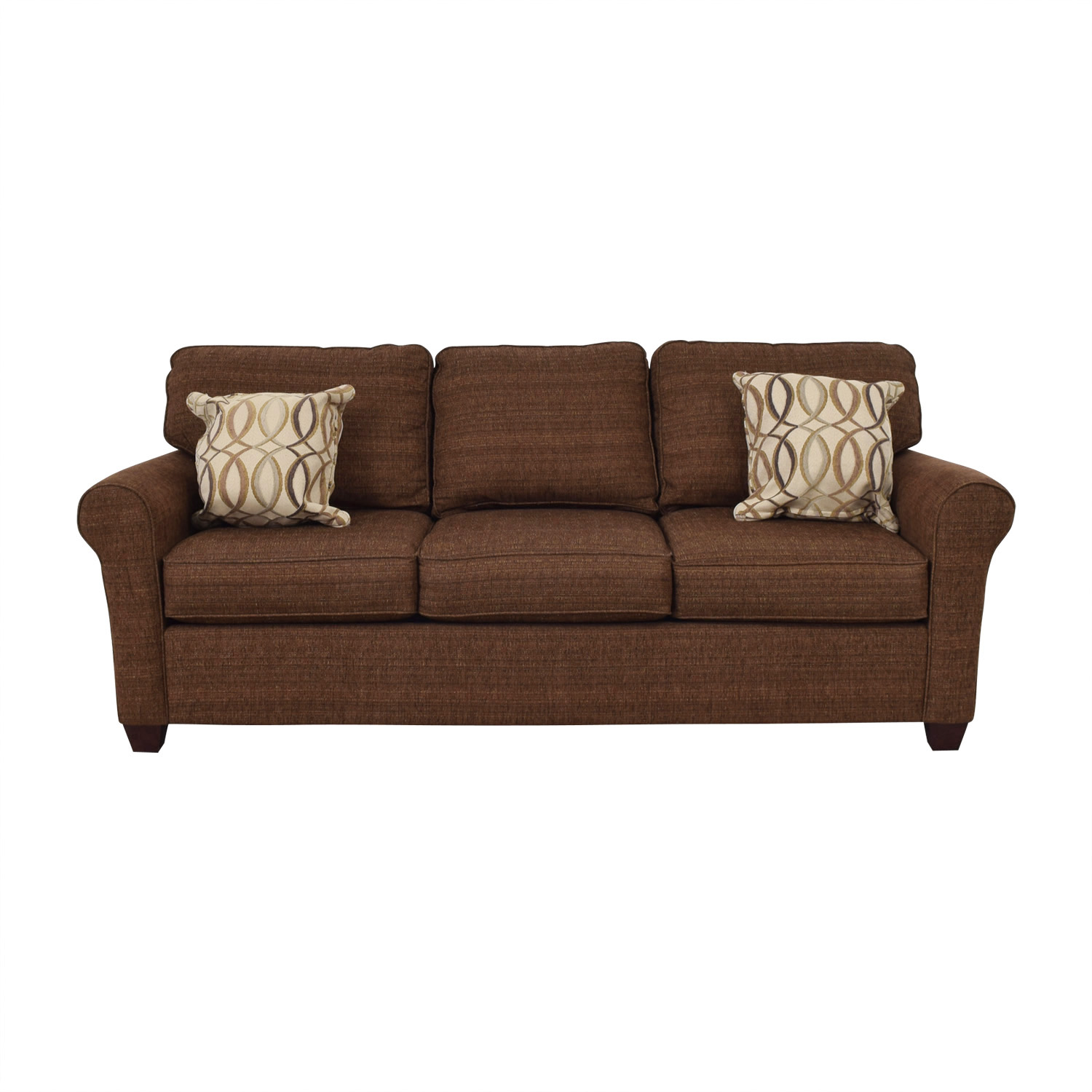 66 Off Bett Furniture Brown Tweed Three Cushion Sofa Sofas
