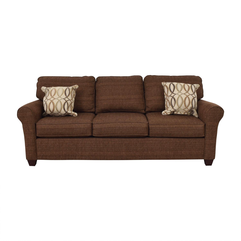 Bassett Bassett Brown Tweed Three-Cushion Sofa used