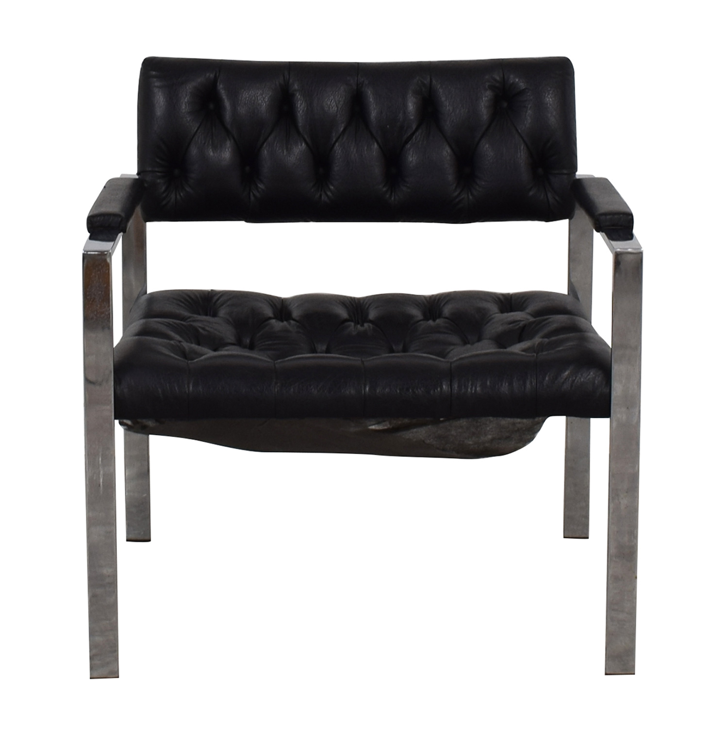 Milo Baughman for Thayer Coggin Milo Baughman for Thayer Coggin Black Tufted Arm Chair Accent Chairs