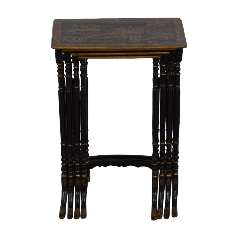 Antique Asian Nesting Tables black/gold