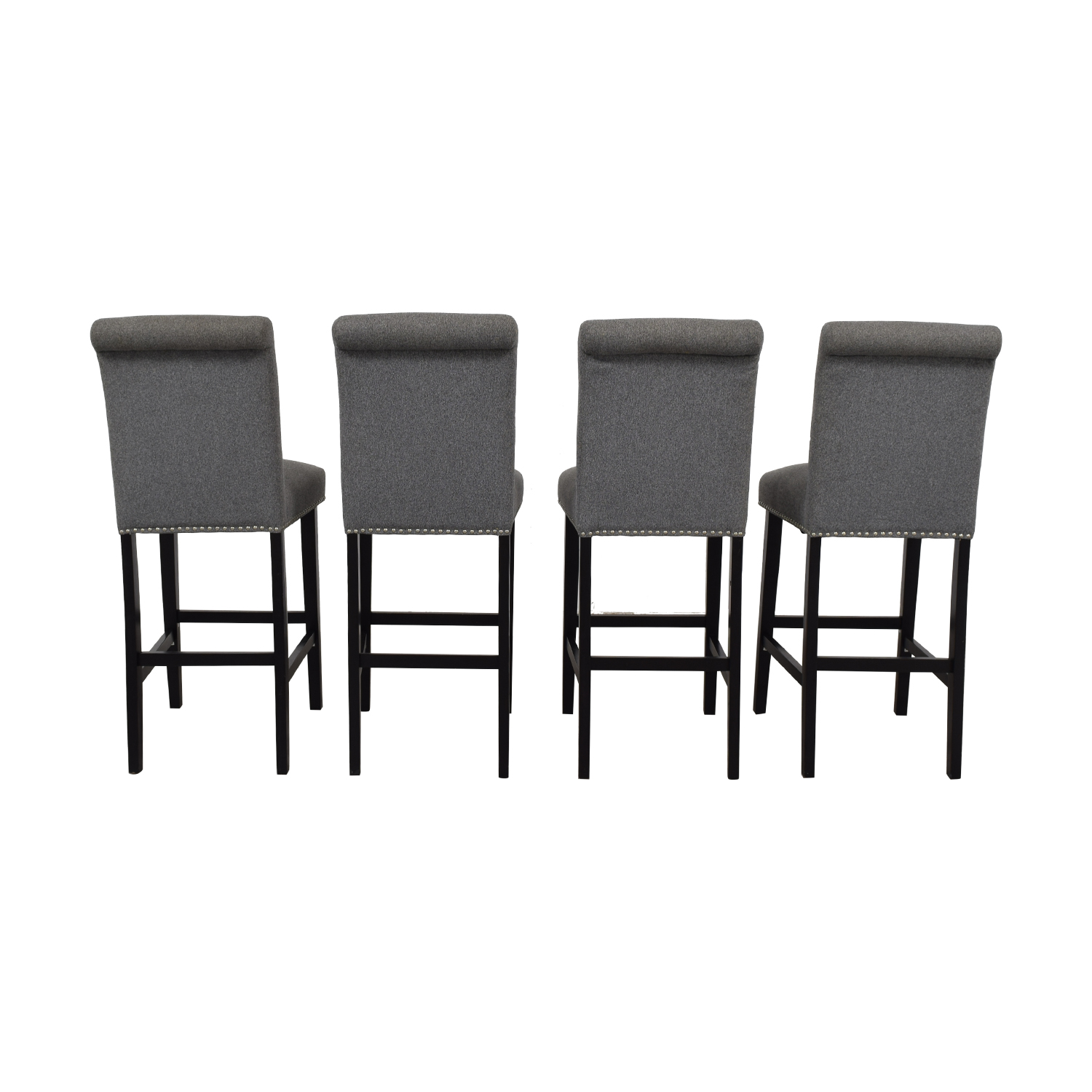 shop Grey Nailhead Upholstered Counter Stools  Dining Chairs