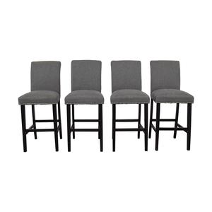 Grey Nailhead Upholstered Counter Stools / Chairs