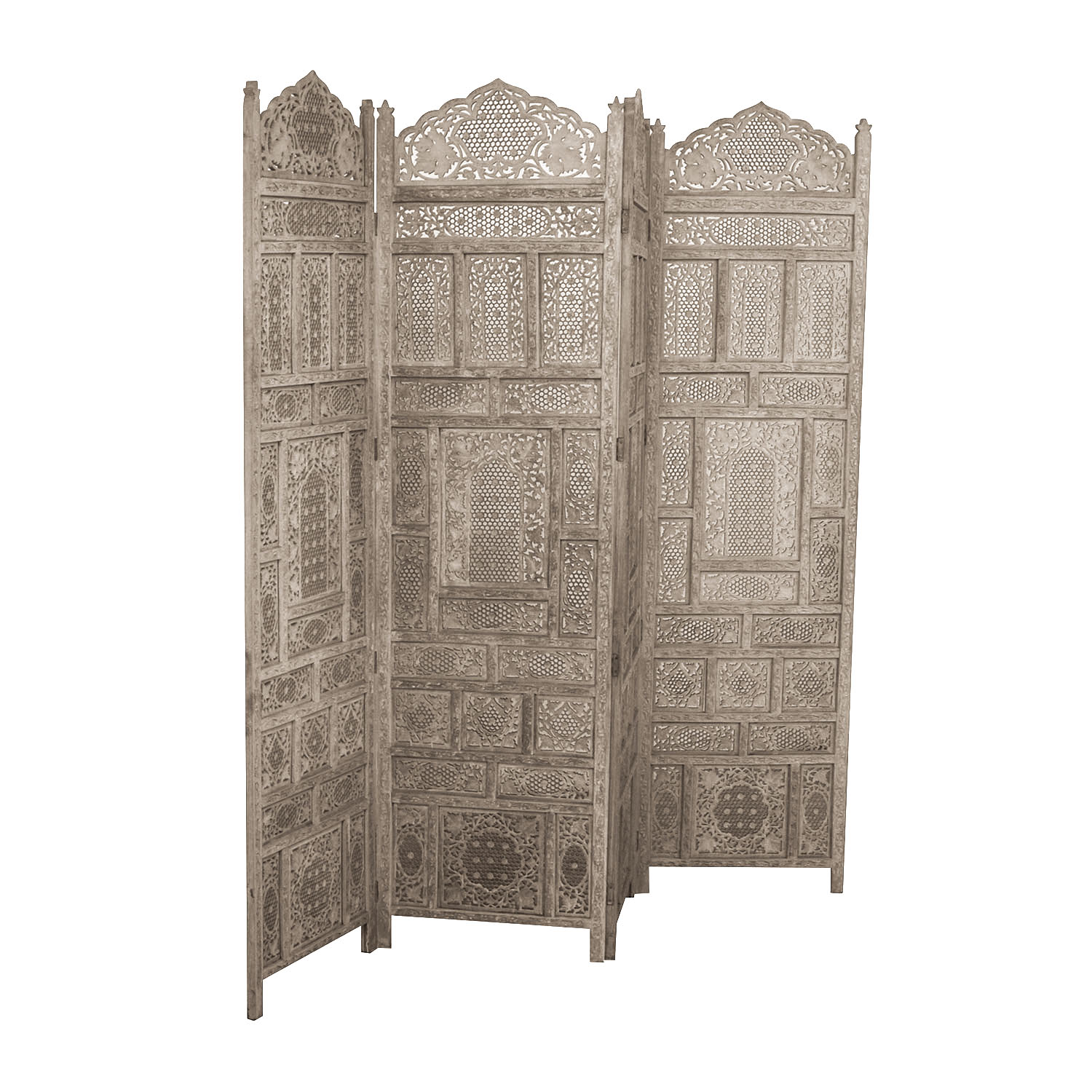 Distressed Light Grey Wood Room Divider second hand