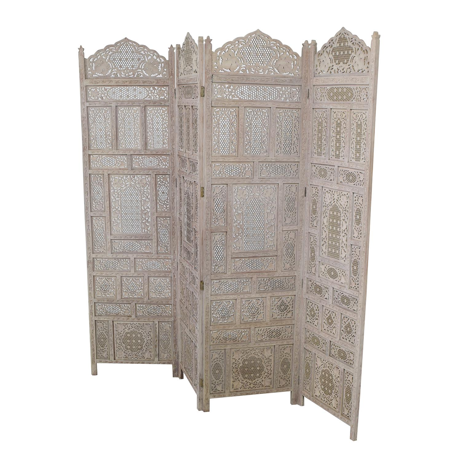 Distressed Light Grey Wood Room Divider dimensions