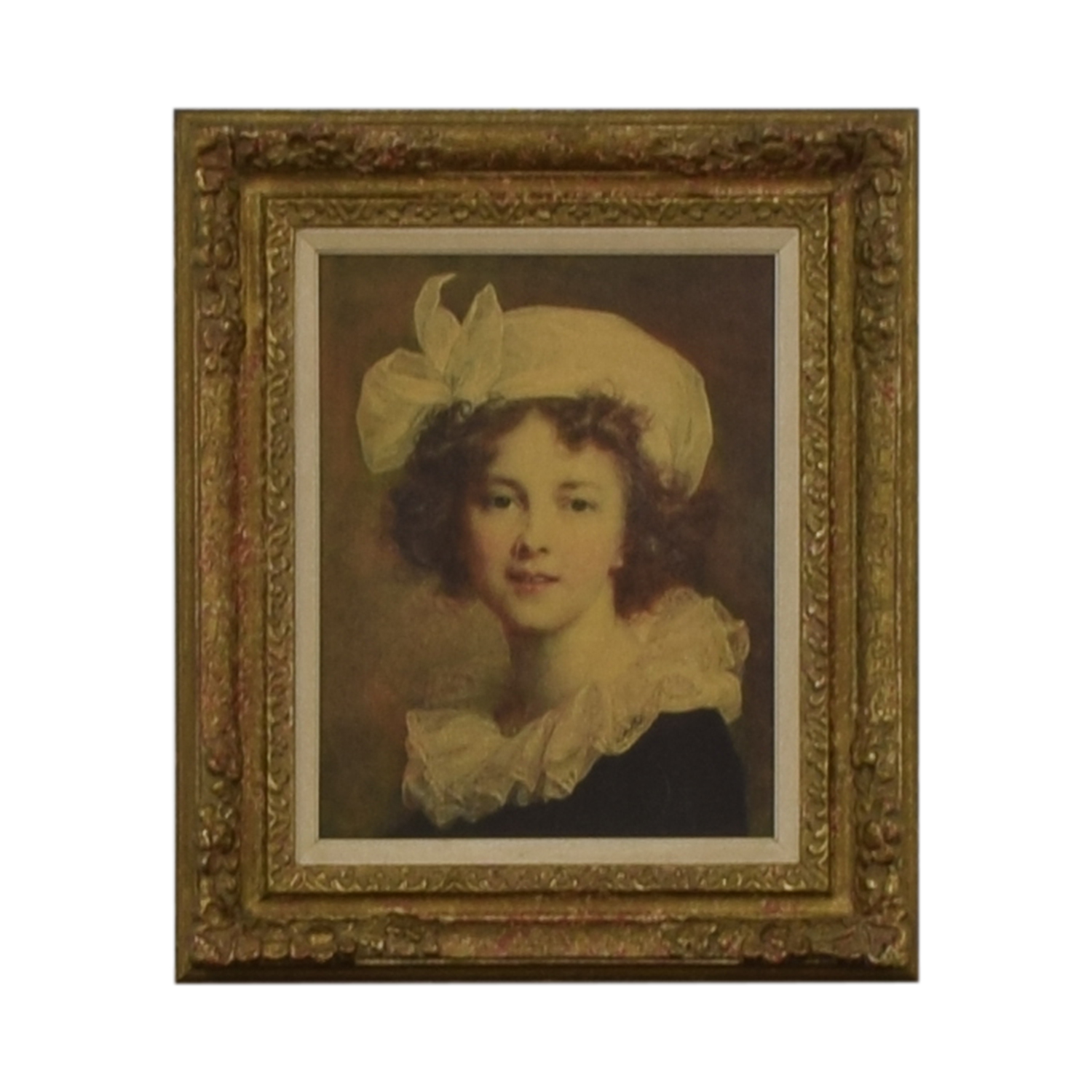 Vintage Young Women Gold Framed Painting / Decor