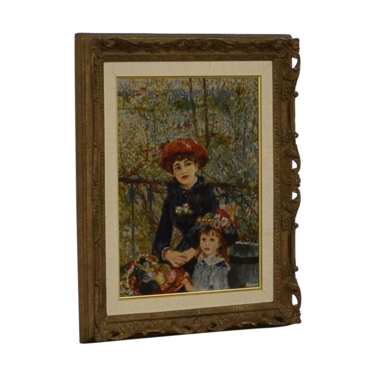 Renoir Renoir Two Sisters on the Balcony Gold Framed Needlepoint on sale