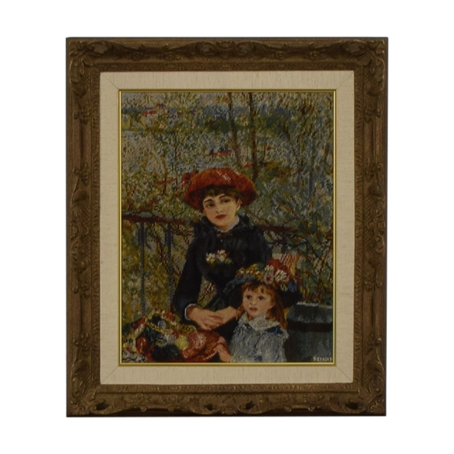 buy Renoir Renoir Two Sisters on the Balcony Gold Framed Needlepoint online