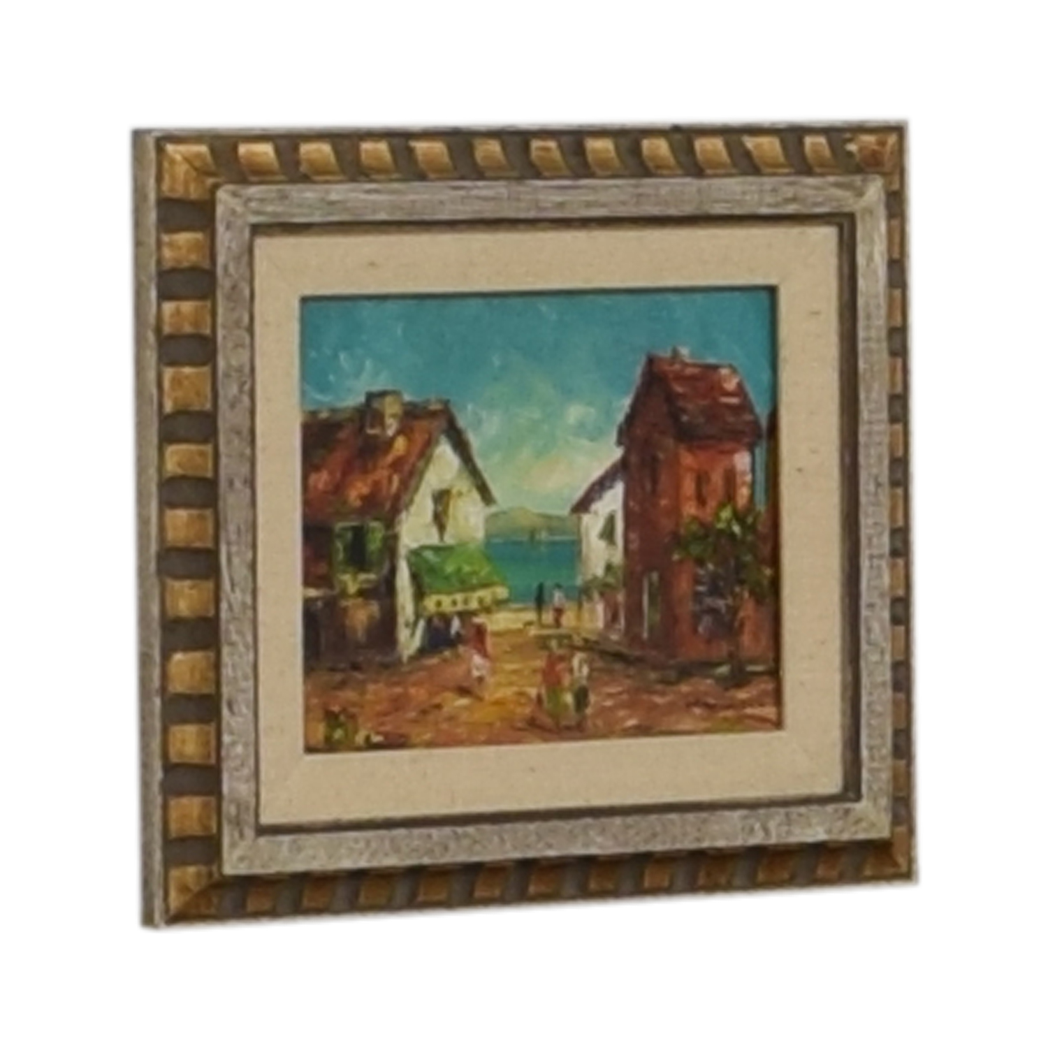 W. Vanicci W. Vanicci Framed Caribbean Oil Painting grey and gold frame