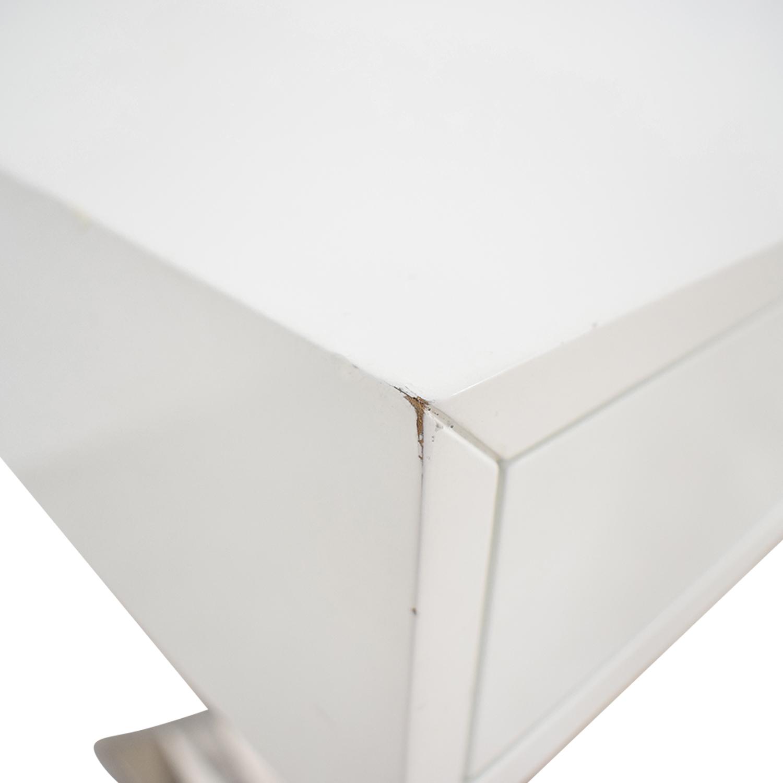 buy Jonathan Adler White and Chrome Two-Drawer Desk Jonathan Adler