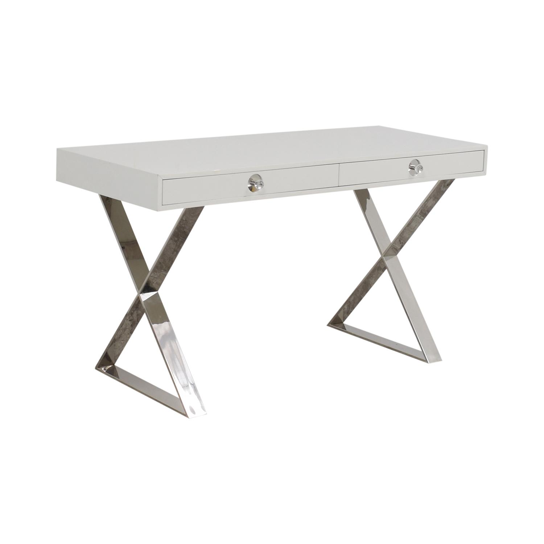Jonathan Adler Jonathan Adler White and Chrome Two-Drawer Desk price