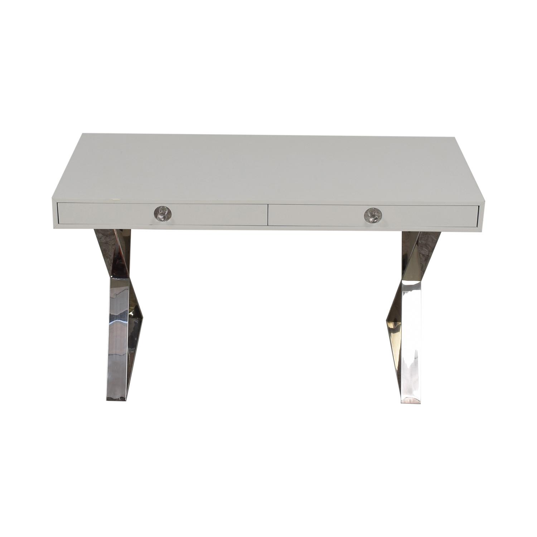 Jonathan Adler Jonathan Adler White and Chrome Two-Drawer Desk used