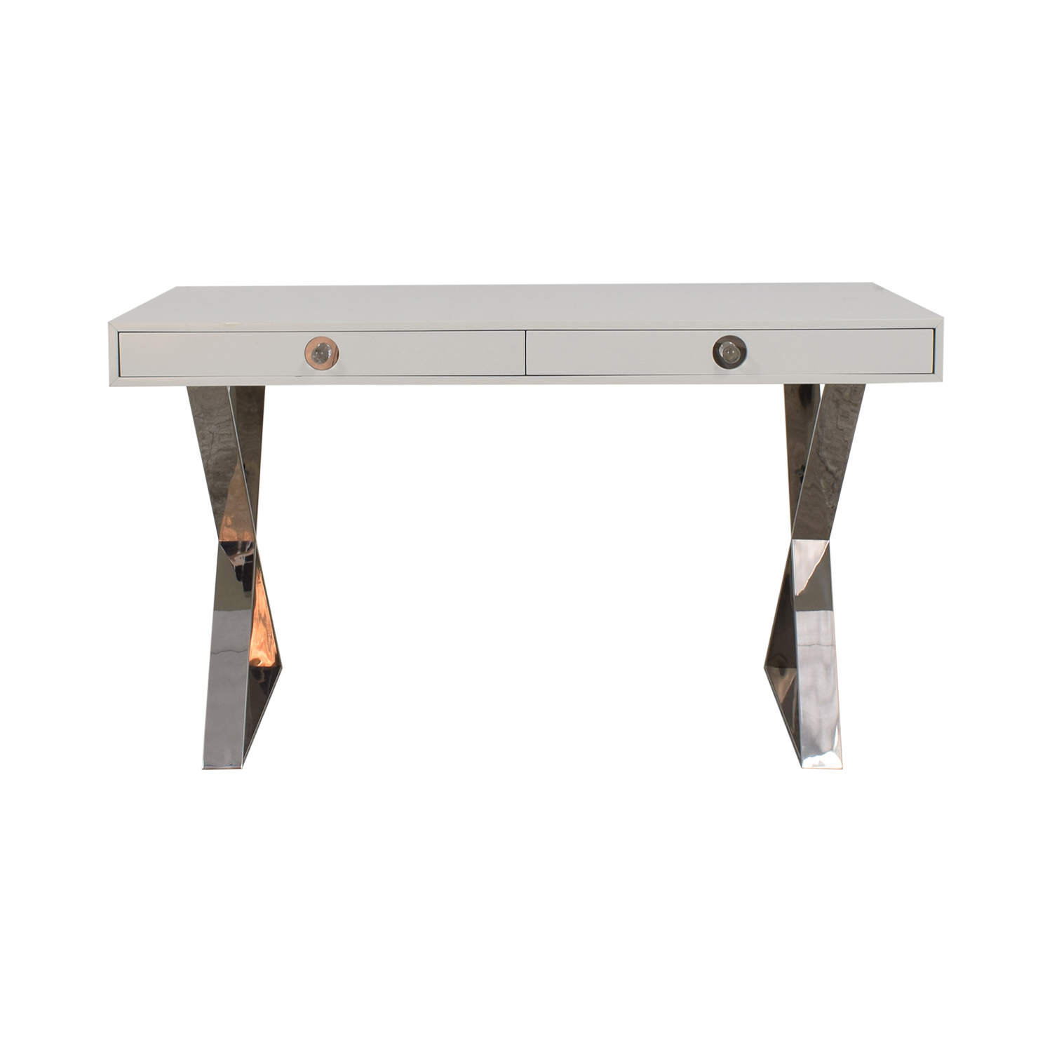 shop Jonathan Adler White and Chrome Two-Drawer Desk Jonathan Adler Tables