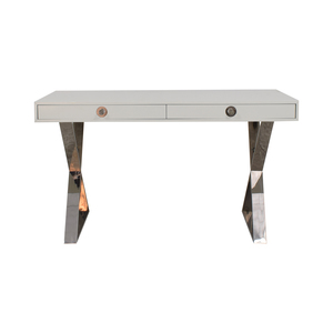Jonathan Adler Jonathan Adler White and Chrome Two-Drawer Desk used