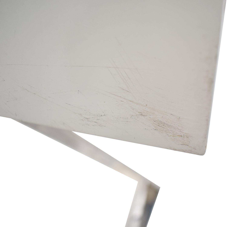 Jonathan Adler White and Chrome Two-Drawer Desk sale
