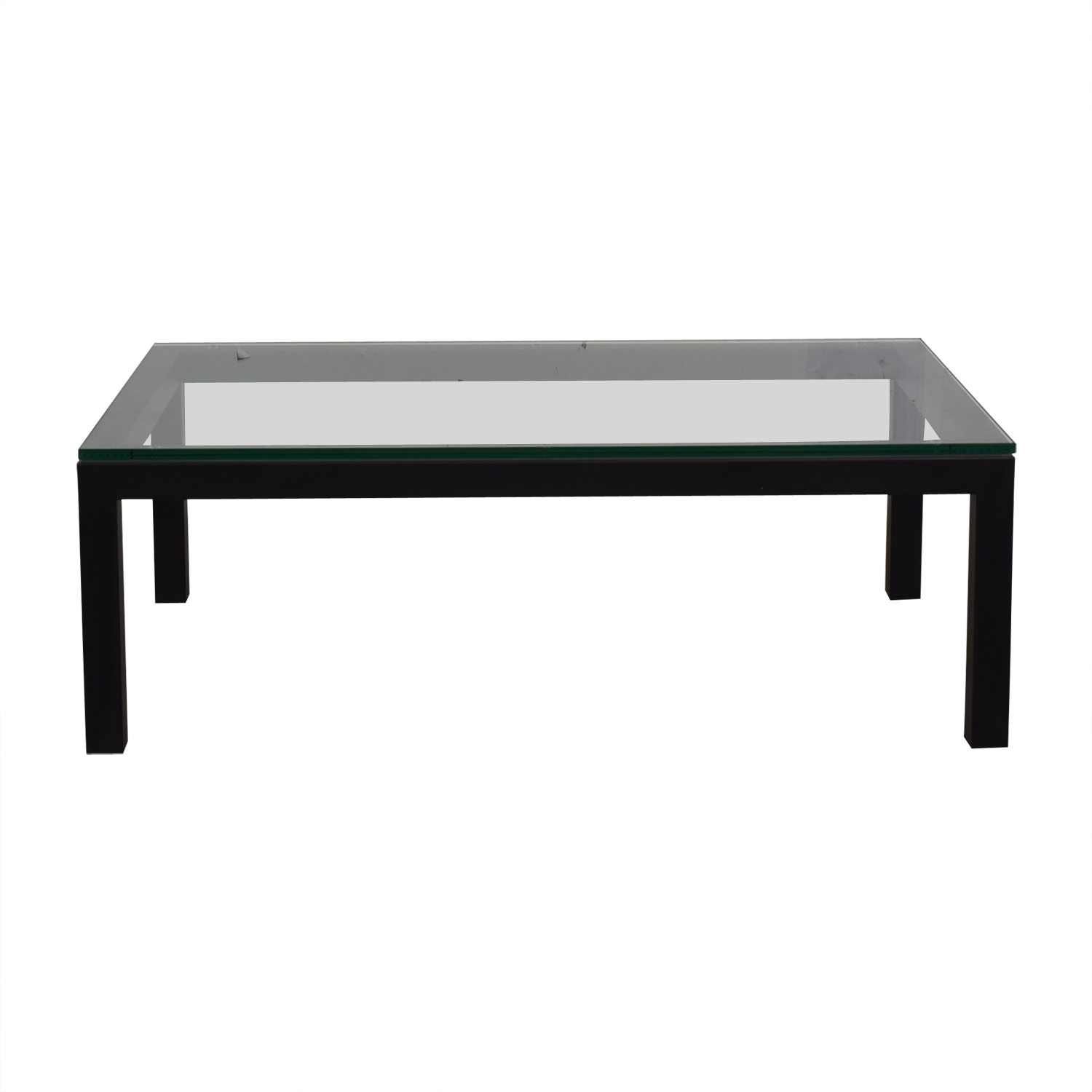 Crate & Barrel Glass & Black Coffee Table / Coffee Tables