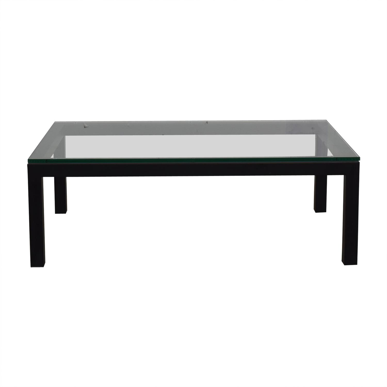 78% OFF   Crate U0026 Barrel Crate U0026 Barrel Glass U0026 Black Coffee Table / Tables