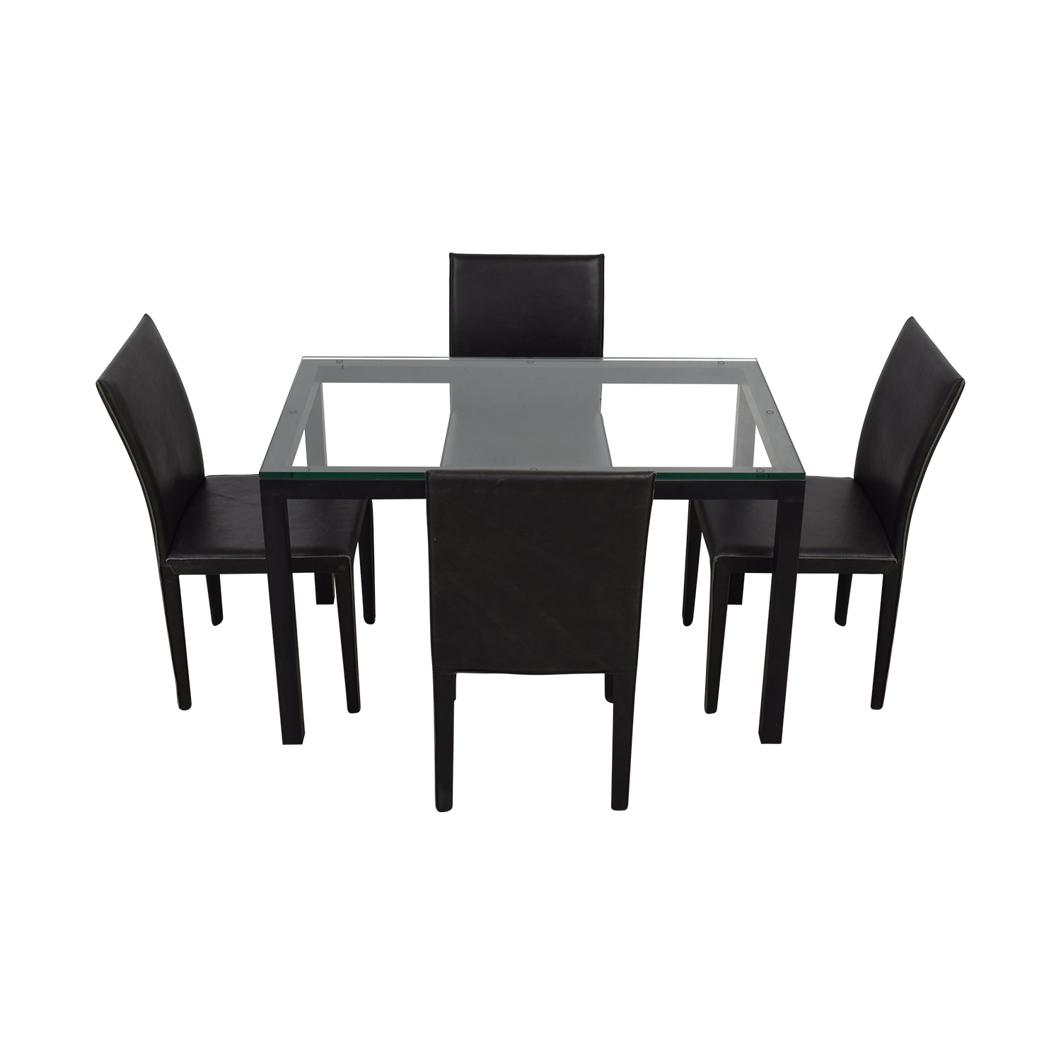 Crate & Barrel Crate & Barrel Maria Yee Glass and Black Dining Set for sale