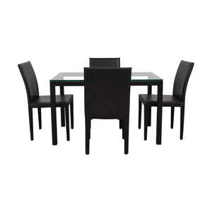 Crate & Barrel Crate & Barrel Maria Yee Glass and Black Dining Set on sale