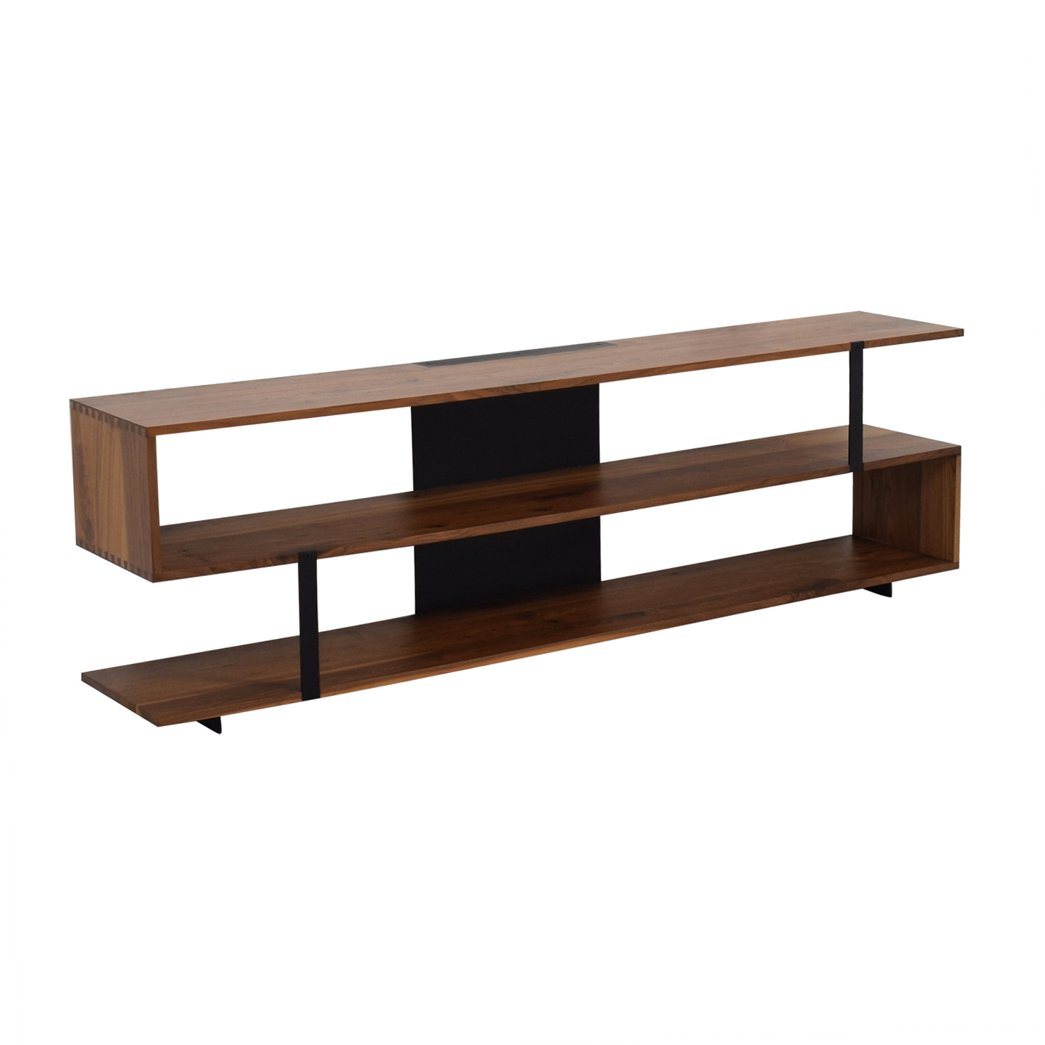 Crate & Barrel Crate & Barrel Wood Media Stand Brown, Black