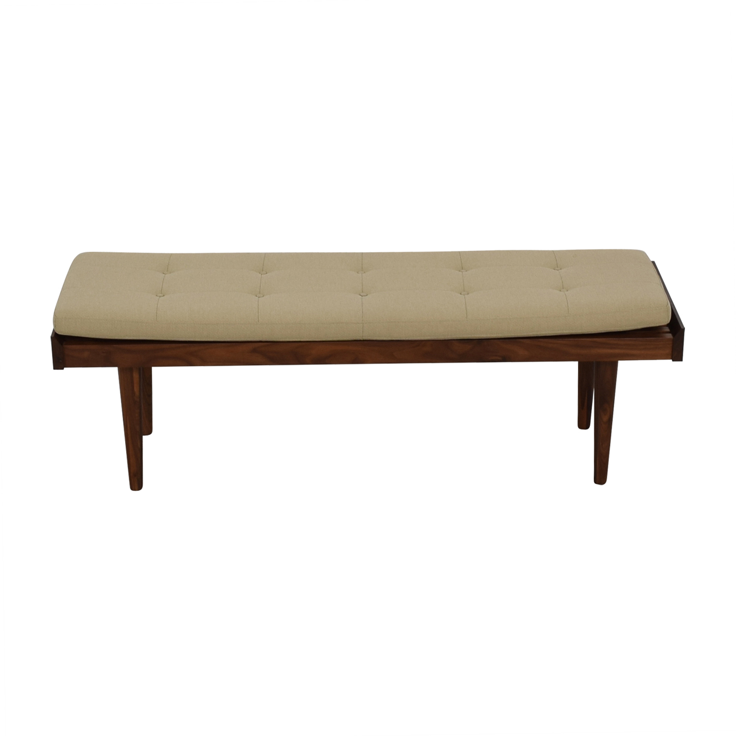 Crate & Barrel Crate & Barrel Beige Upholstered Wood Bench nyc