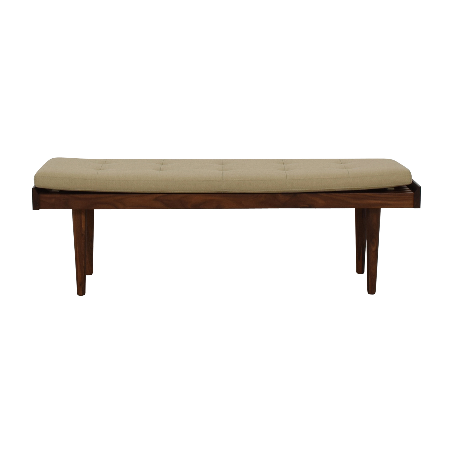 buy Crate & Barrel Beige Upholstered Wood Bench Crate & Barrel Benches