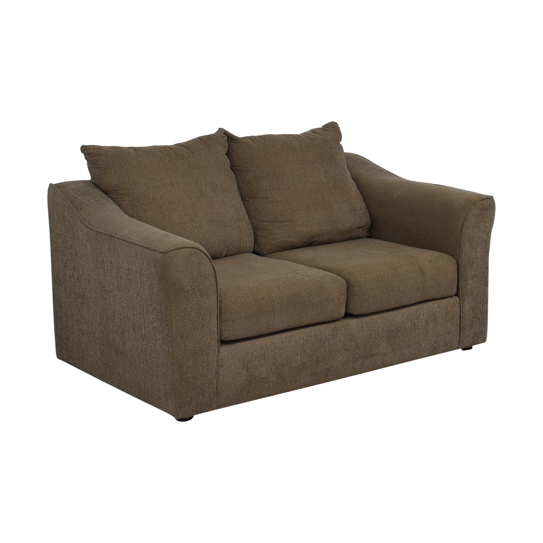 shop Hughes Furniture Brown Two-Cushion  Loveseat Hughes Furniture