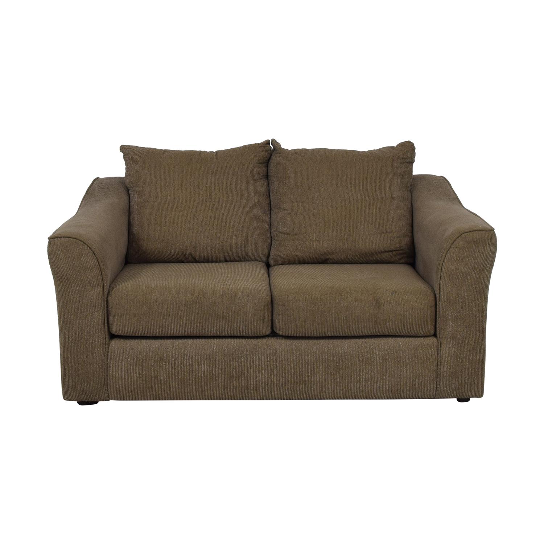 Hughes Furniture Hughes Furniture Brown Two-Cushion  Loveseat