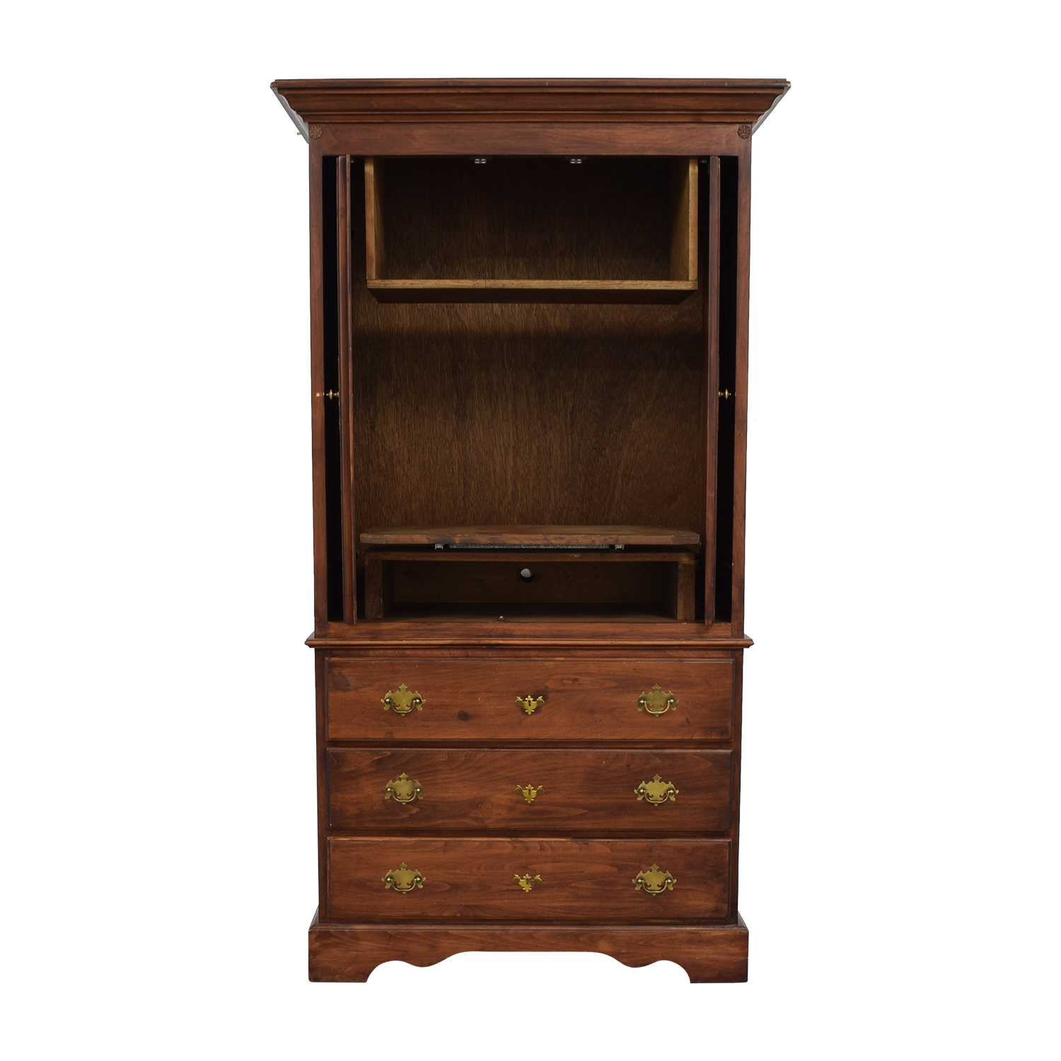Wood Three-Drawer Media Armoire / Storage