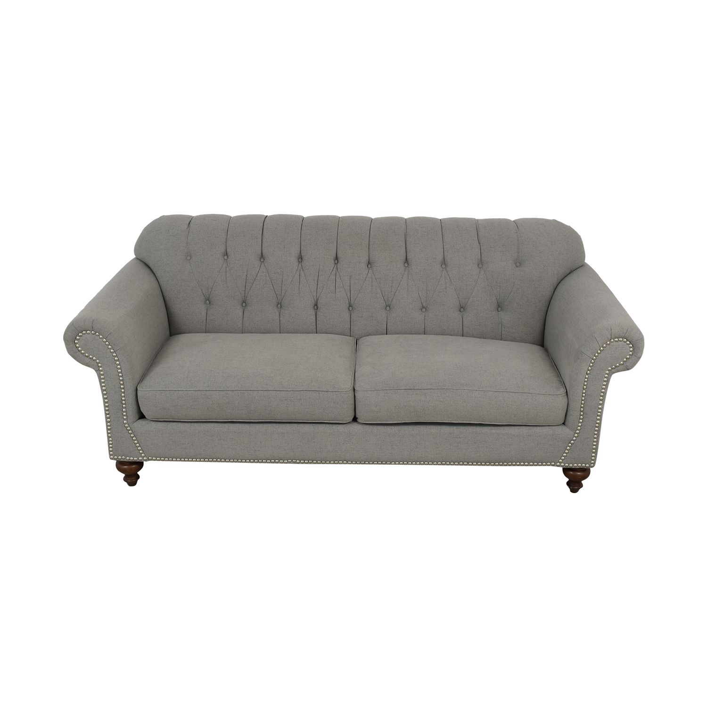 ABC Carpet & Home ABC Carpet & Home Grey Tufted Nailhead Two-Cushion Sofa Classic Sofas