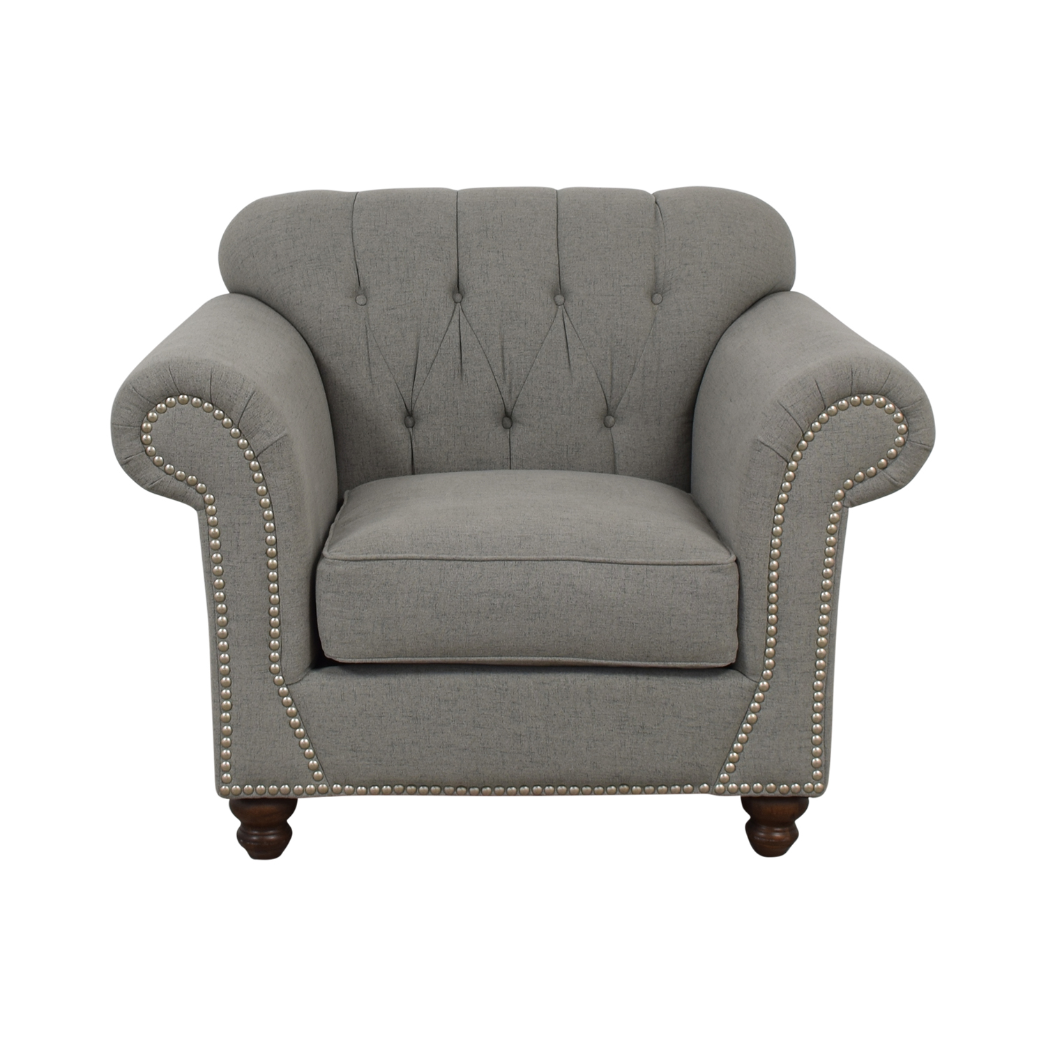 Klaussner Klaussner Distinctions Grey Tufted Nailhead Accent Chair used