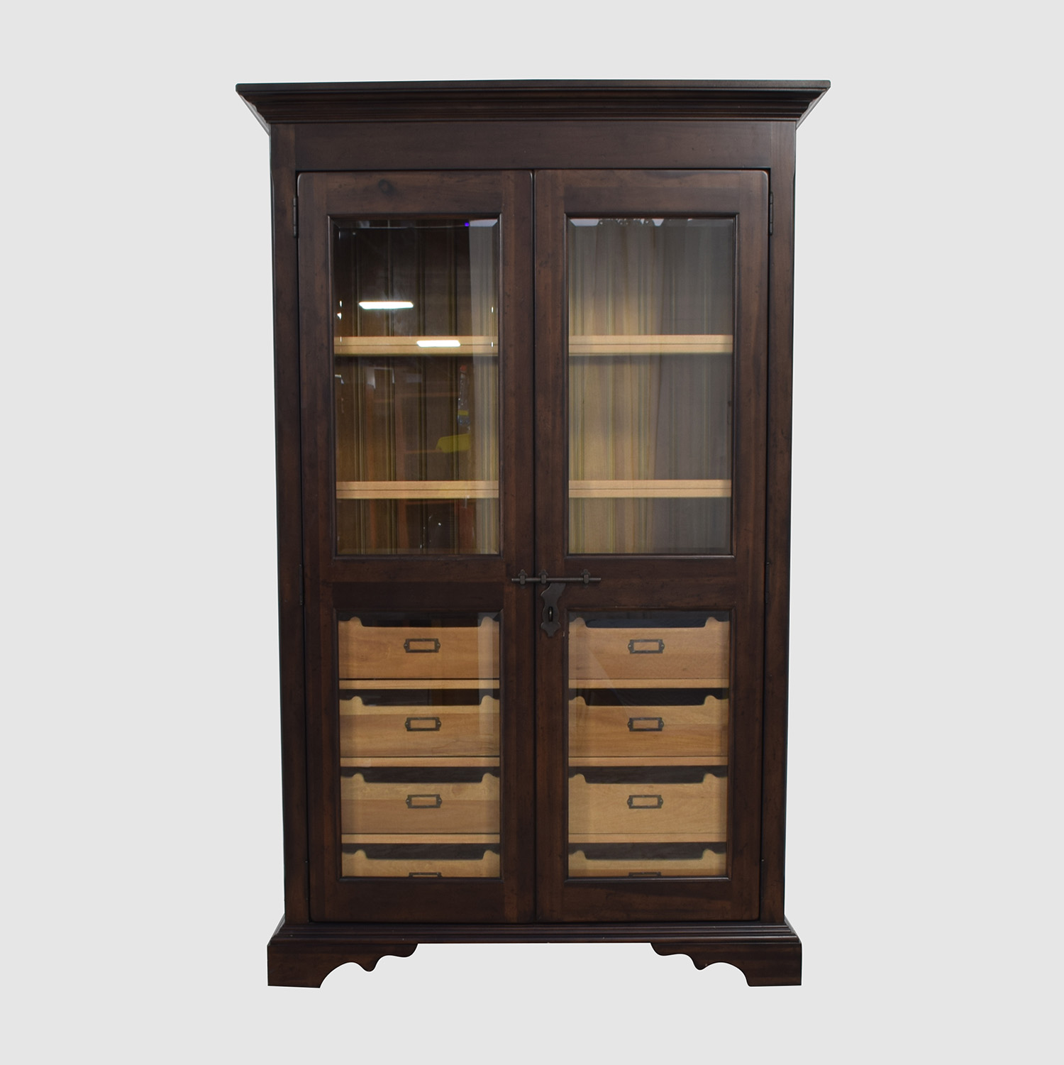 Country Willow Country Willow Eight Drawer Wood and Glass Cabinet nyc