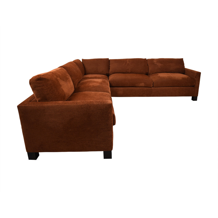 A. Rudin Burnt Orange L-Shaped Sectional sale