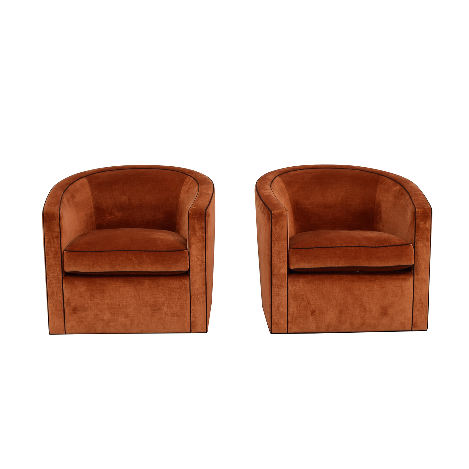 A Rudin A Rudin Custom Orange Club Chairs Accent Chairs