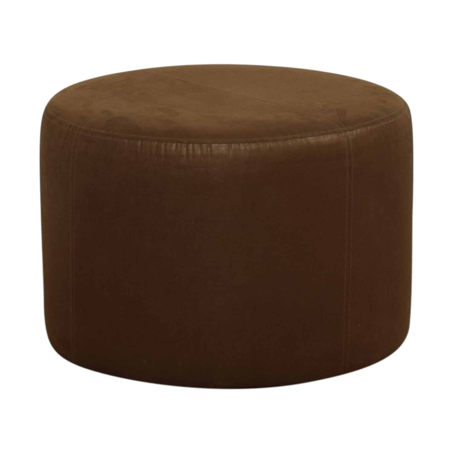 Round Rustic Leather Ottoman Nyc