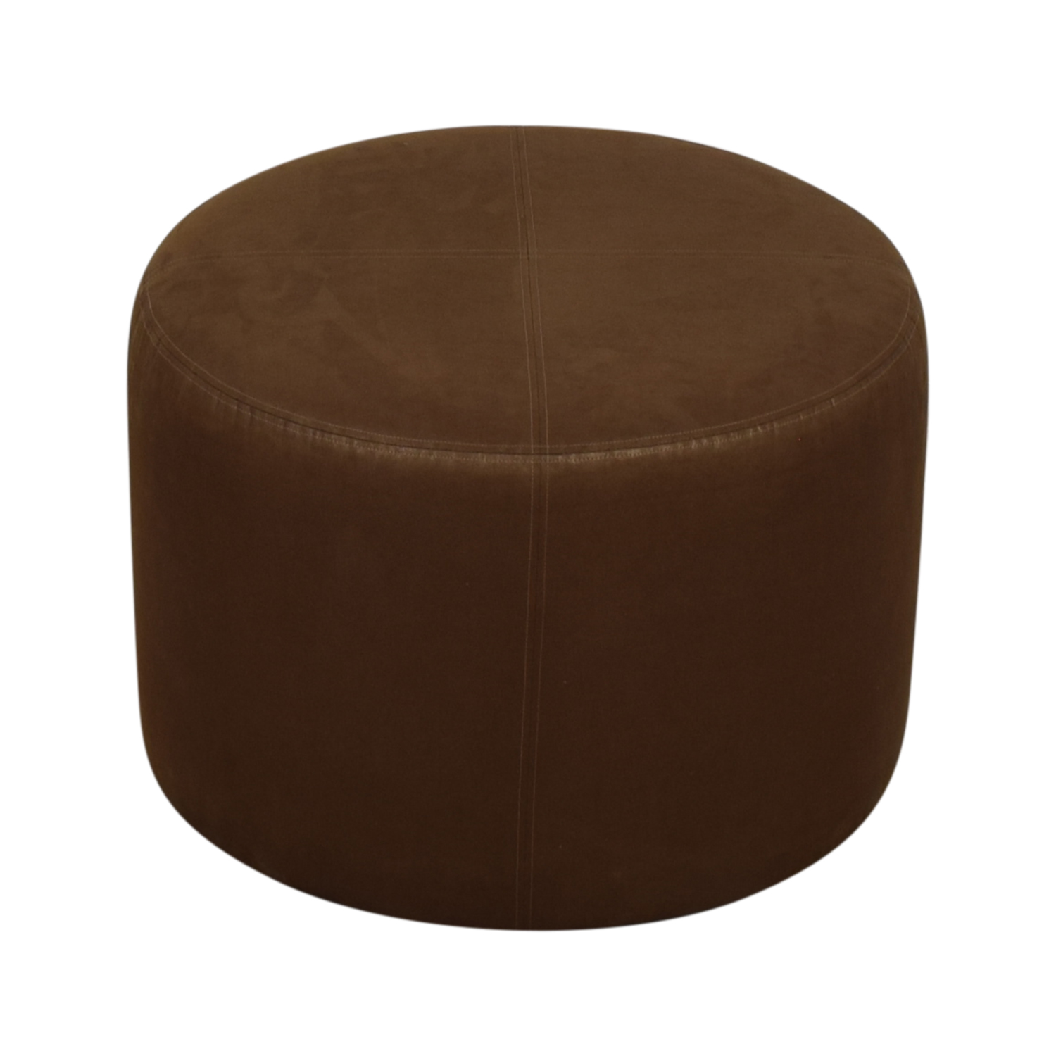 Round Rustic Leather Ottoman sale