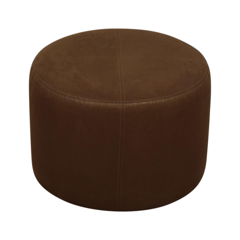 Round Rustic Leather Ottoman nj