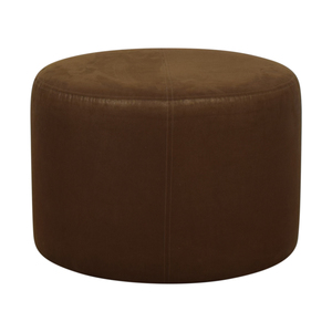 Round Rustic Leather Ottoman on sale
