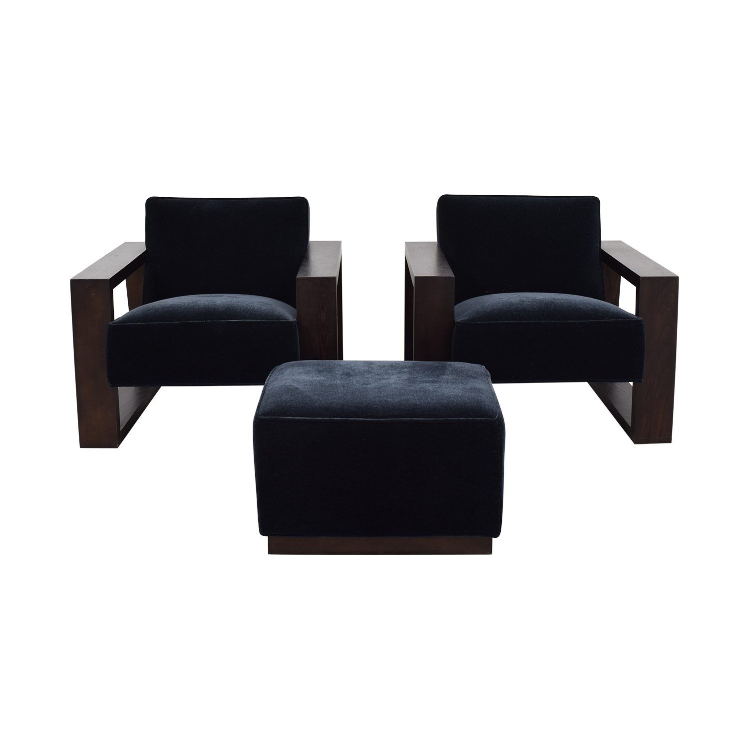buy Mitchell Gold + Bob Williams Charcoal Mohair Chairs and Ottoman Mitchell Gold + Bob Williams