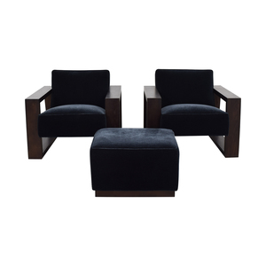 Mitchell Gold + Bob Williams Mitchell Gold + Bob Williams Charcoal Mohair Chairs and Ottoman coupon