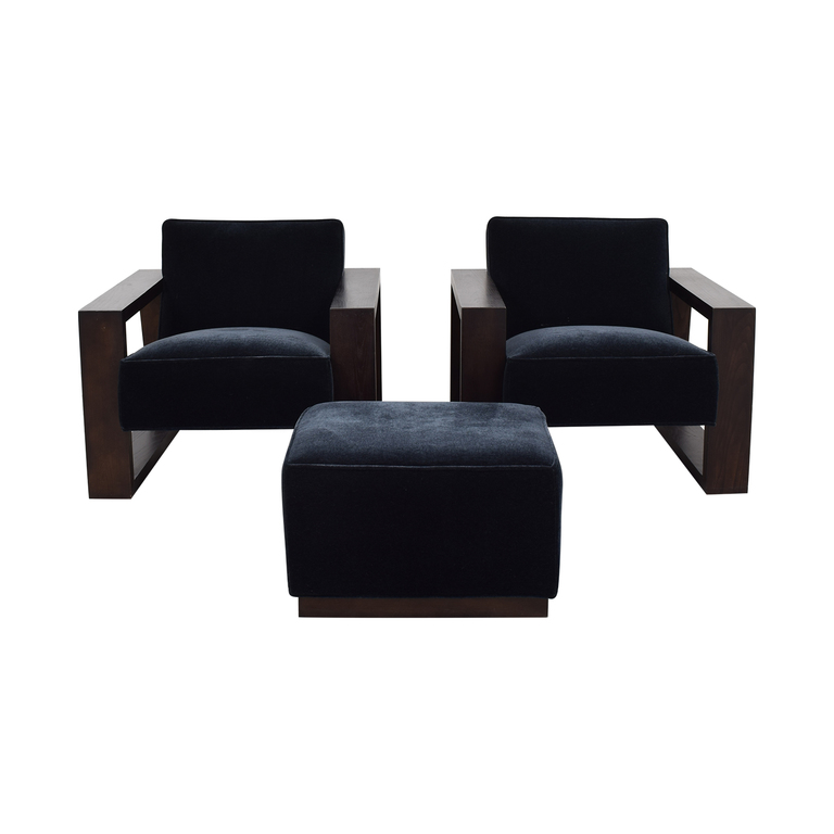 Mitchell Gold + Bob Williams Mitchell Gold + Bob Williams Charcoal Mohair Chairs and Ottoman second hand