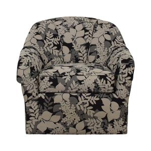 Ethan Allen Ethan Allen Black White and Grey Leaf Pattern Swivel Arm Chair nyc
